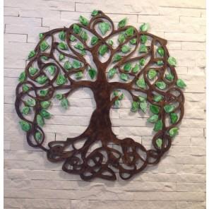 Quadro A Árvore Da Vida com Traços Celtas - Técnica de Envelhecimento - Diâmetro 60 cm