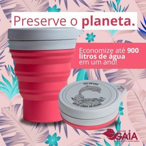Copo de Silicone Retrátil Menos 1 Lixo + Paz em Gaia