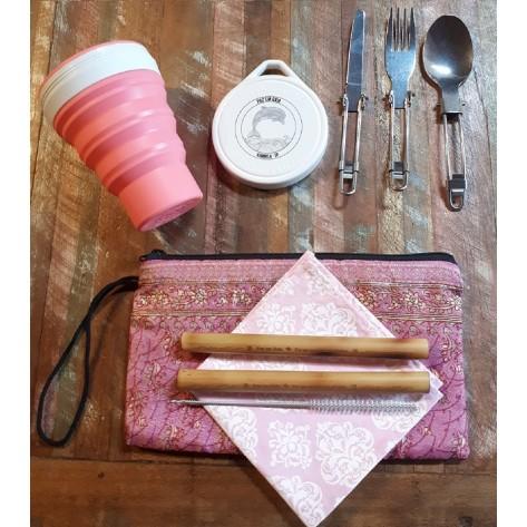 Kit Sustentável dia-a-dia com Copo de Silicone Menos 1 Lixo + Talheres Inox Dobráveis