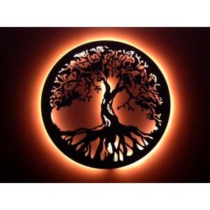 Quadro A Árvore Da Vida - Técnica de Envelhecimento - Diâmetro 60 cm