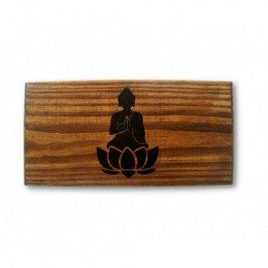 Seiza Buda Namastê em Madeira Envelhecida - Banco Dobrável