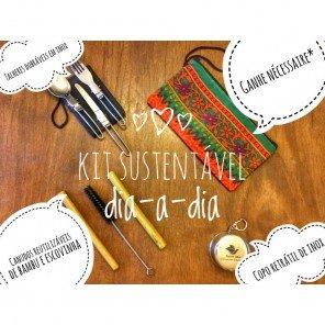 Kit Sustentável dia-a-dia com Copo e Talheres Dobráveis em Inox